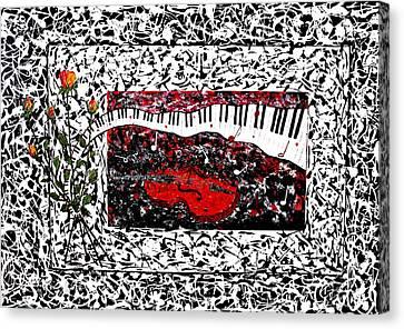 Love Music Memories Original Acrylic Painting  Canvas Print by Georgeta Blanaru