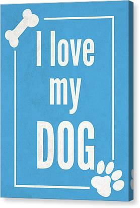 Love My Dog Blue Canvas Print
