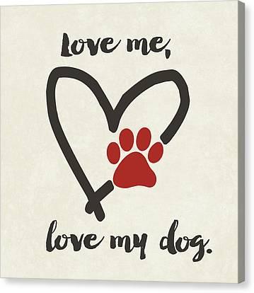 Love My Dog Canvas Print by Jo Moulton