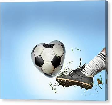 Love Of Football Canvas Print by Smetek