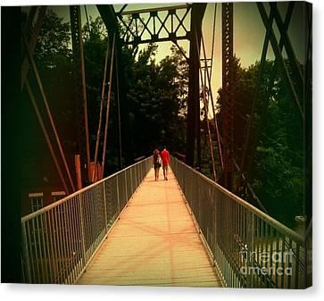 Love On A Bridge Canvas Print