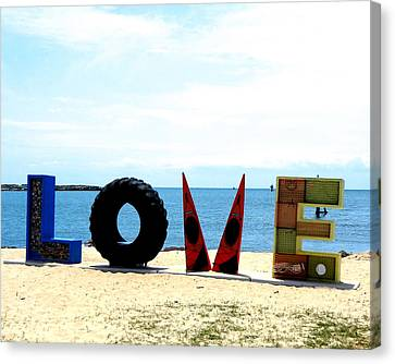 Love On The Beach Found Art Outer Banks Canvas Print