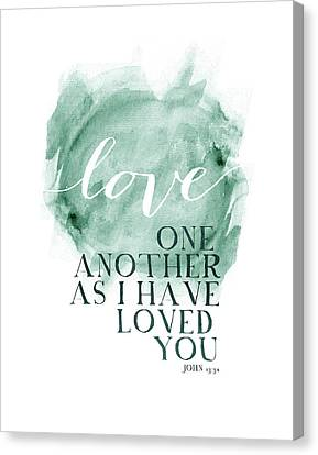 Love One Another Watercolor Circl Canvas Print
