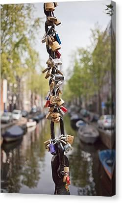 Love Padlocks In Amsterdam Canvas Print