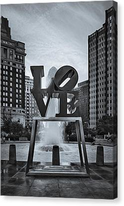 Indiana Landscapes Canvas Print - Love Park Bw by Susan Candelario