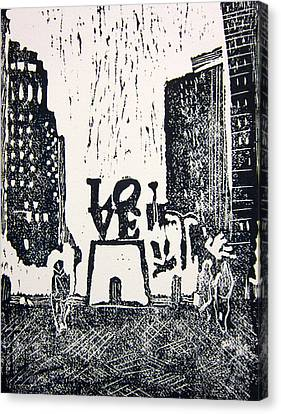 Love Park In Black And White Canvas Print by Marita McVeigh