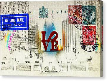 Love Park Post Card Canvas Print by Bill Cannon