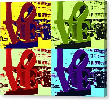 Canvas Print featuring the digital art Love Pop Art by J Anthony