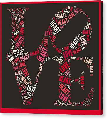 Love Quatro Heart - S111b Canvas Print by Variance Collections