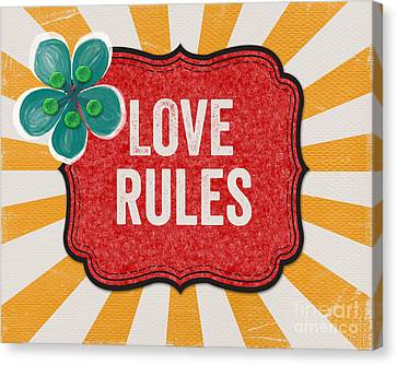 Love Rules Canvas Print by Linda Woods