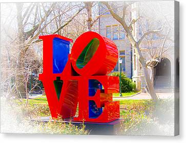 Love Sculpture - Penn Campus Canvas Print by Louis Dallara