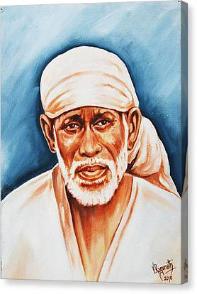 Canvas Print featuring the painting Love Supreme-baba by Ragunath Venkatraman