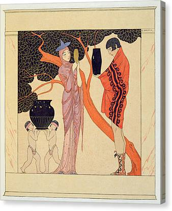 Love Token Canvas Print by Georges Barbier