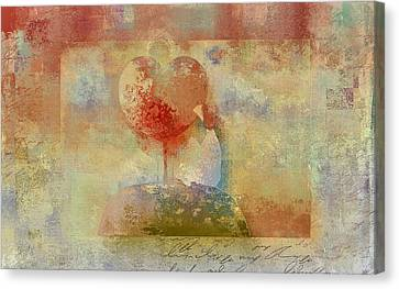Girl Digital Art Canvas Print - Love Tree - Pst02z01 by Variance Collections