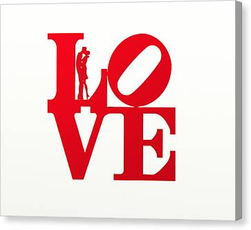 Love Typography - Red On White Canvas Print by World Art Prints And Designs