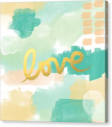 Love With Peach And Mint Canvas Print by Linda Woods