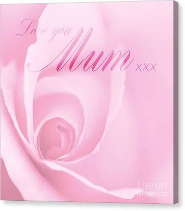 Love You Mum Pink Rose Canvas Print by Natalie Kinnear