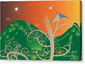 Canvas Print featuring the digital art Lovebirds by Kim Prowse