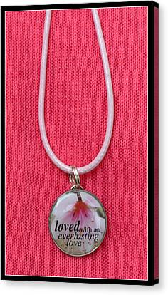 Loved With An Everlasting Love Pendant Canvas Print by Carla Parris