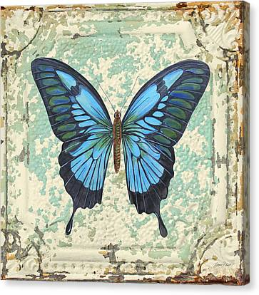 Lovely Blue Butterfly On Tin Tile Canvas Print by Jean Plout
