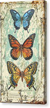 Lovely Butterfly Trio On Tin Tile Canvas Print by Jean Plout