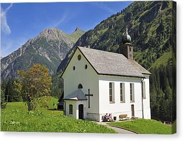 Vorarlberg Canvas Print - Lovely Church In Beautiful Mountain Landscape by Matthias Hauser