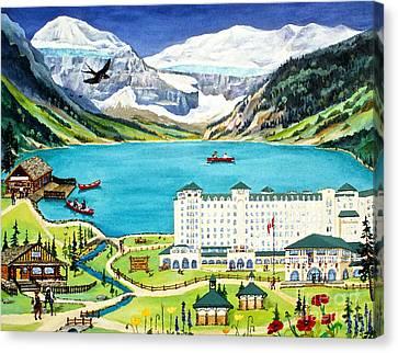 Lovely Lake Louise Canvas Print by Virginia Ann Hemingson
