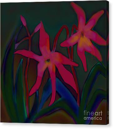 Canvas Print featuring the digital art Lovely Lilies by Latha Gokuldas Panicker