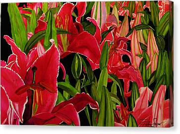 Canvas Print featuring the painting Lovely Lillies by Debi Singer