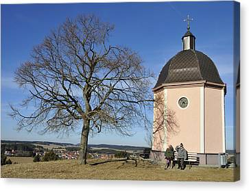 Lovely Little Chapel And A Tree Canvas Print by Matthias Hauser