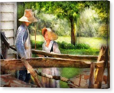 Lover - The Courtship Canvas Print by Mike Savad