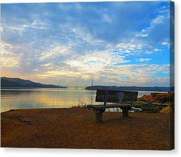 Lovers Bench Canvas Print by Brian Maloney