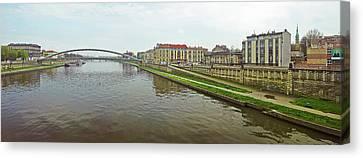 Lovers Bridge Over A River, River Canvas Print