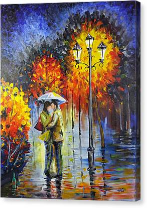 Lovers In The Rain Canvas Print by Harry Speese