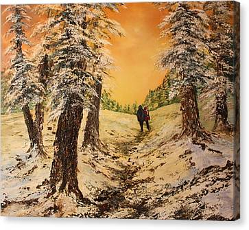 Cannock Chase Canvas Print - Lovers In The Snow by Jean Walker