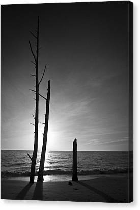 Lovers Key Sunset Black And White One Canvas Print