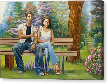 Lovers On A Bench Canvas Print by Dominique Amendola