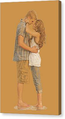 Lovers On The Beach Canvas Print by Dominique Amendola