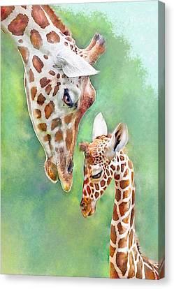 Loving Mother Giraffe2 Canvas Print by Jane Schnetlage
