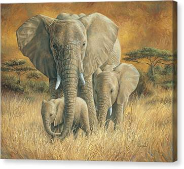 Elephants Canvas Print - Loving Mother by Lucie Bilodeau