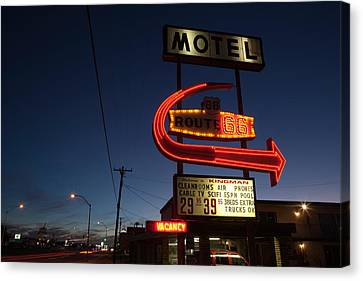Low Angle View Of A Motel Sign, Route Canvas Print by Panoramic Images