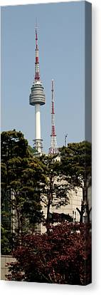 Low Angle View Of A Tower, N Seoul Canvas Print