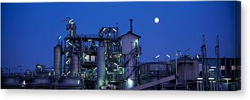 Low Angle View Of An Oil Refinery Canvas Print