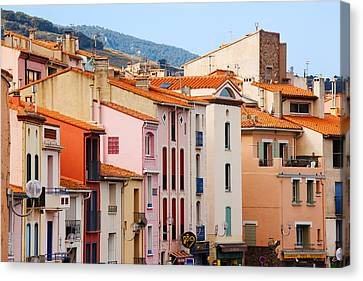 Low Angle View Of Buildings In A Town Canvas Print