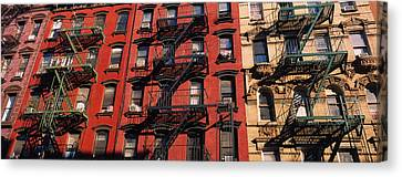 Low Angle View Of Fire Escapes Canvas Print