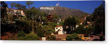 Low Angle View Of Hollywood Sign, Los Canvas Print
