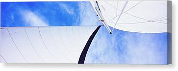 Low Angle View Of Sails On A Sailboat Canvas Print by Panoramic Images
