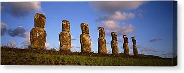 Low Angle View Of Statues In A Row Canvas Print by Panoramic Images