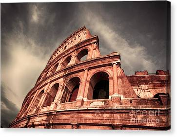 Low Angle View Of The Roman Colosseum Canvas Print