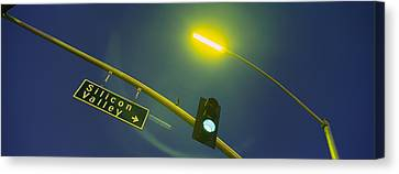 Low Angle View Of Traffic Light Canvas Print by Panoramic Images